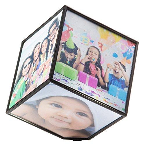 Goods & Gadgets Drehender Fotowürfel für 6 Fotos schwebender Bilderwürfel Fotohalter Bilderrahmen Bildwürfel