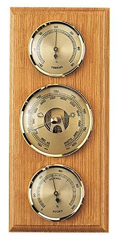 SELVA Instrumento meteorológico, estación meteorológica mecánica analógica de roble claro, para exterior, con termómetro, barómetro, higrómetro, 270 x 120 mm