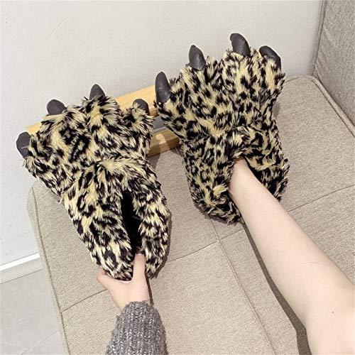 SJNX-Running Shoes Pantuflas De Pata De Leopardo - Felpa Novedad Animal House Zapatos Comfort Foam