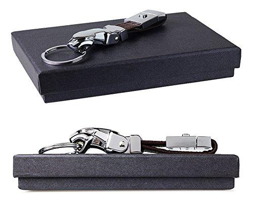 Olivery Genuine Leather Valet Jaguar Keychain - Detachable Elegant Key Chain, 3 Key Rings (Brown)