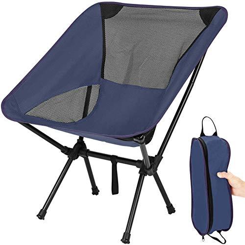 Silla de camping portátil, silla plegable al aire libre, compacta, ultraligera, plegable con bolsa de transporte para exteriores, pesca, senderismo, playa, picnic (azul marino)