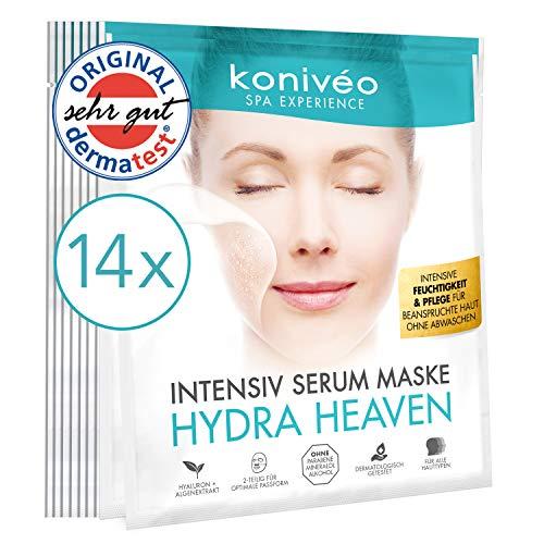 Premium Tuchmasken mit Hyaluron - Hydrogel Gesicht Maske für strahlend-schöne Haut. Intensiv Serum Gesichtsmaske Tuchmaske Vliesmaske ohne Parabene. Derma Test Note SEHR GUT / 14 er Maxi-Spar Set