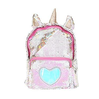 FORLADY Unicornio Mochila Chica Moda Lentejuelas/Felpa de dibujos animados Mochila linda Mochila de viaje