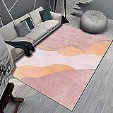 Alfombra Dormitorio Juvenil El Agua de Alfombra geométrica Amarilla Crema Rosada se Lava la Sala de Estar Suave y Sucia. Alfombra Dormitorio Juvenil alfombras Dormitorio 160*230cm