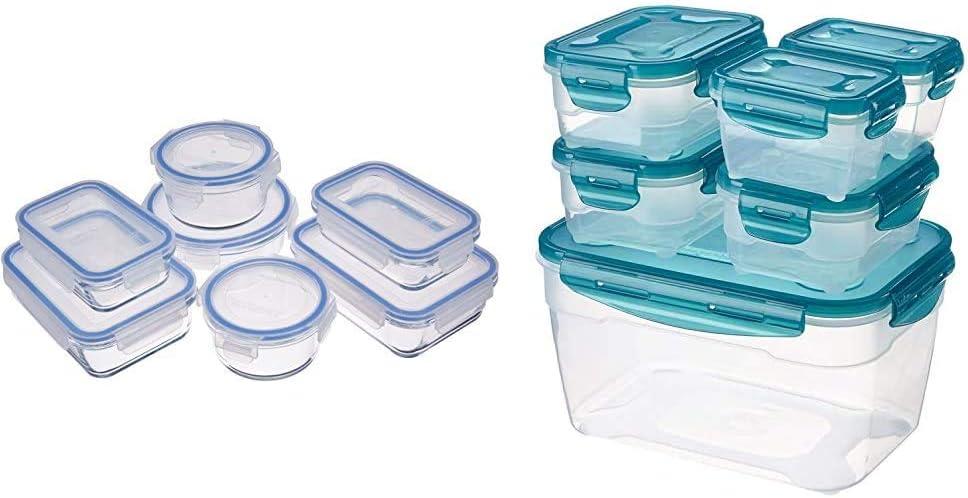 Amazon Basics – Frischhaltedosen aus Glas für Lebensmittel, mit Deckel, 14 -teiliges set (7 Behälter + 7 Deckel), BPA-freie & 6 pcs Food Storage Set