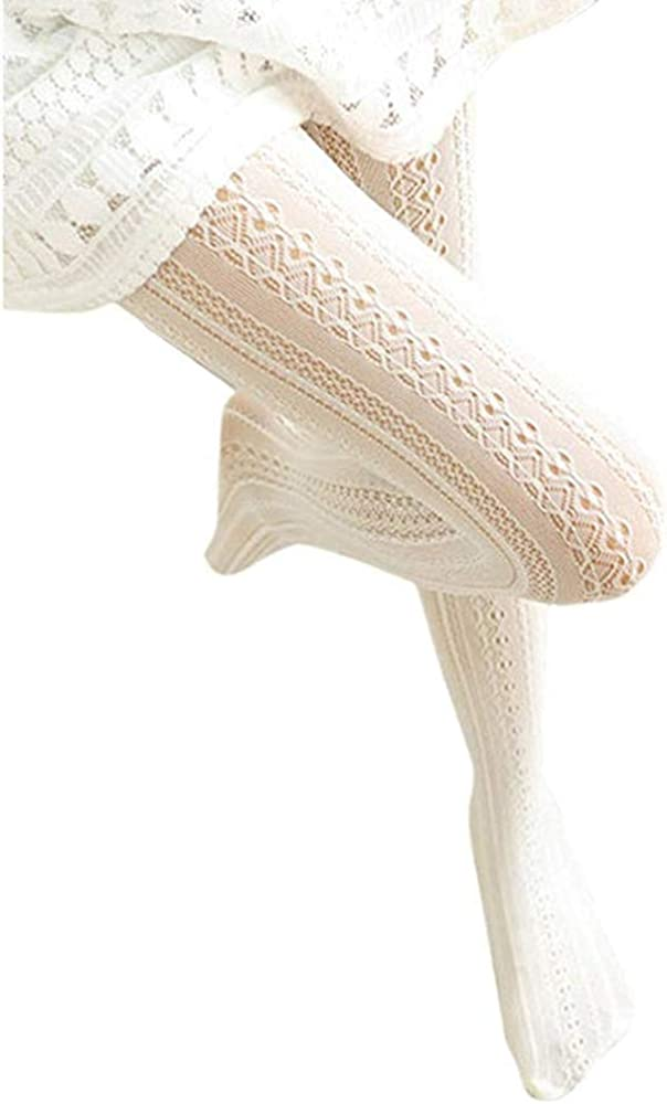 SurBepo Women Fishnet Hollow Out Knitted Patterned Stockings Tights Vertical Strips Pantyhose For Female