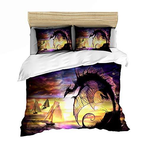Dragon - Set di biancheria da letto, motivo dragone, 135 x 200 cm, per ragazze, bambini e ragazzi (Dragon 3, 220 x 240 cm + 80 x 80 cm x 2)