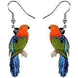 XQAQW Acrílico Floral Jungle Pendientes de pájaros Grandes Larga Colgante Gota de Moda joyería Animal para Las Mujeres niñas Adolescentes Regalo
