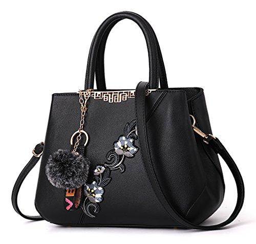 NUCLERL Mehrfarbig PU Leder Frauen Handtasche Stickerei Blume Schultertasche mit kleinen niedlichen Fluff Anhänger schwarz