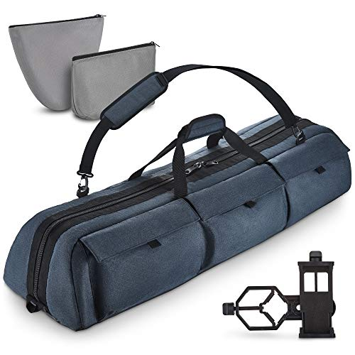 Multipurpose Telescope Case - Fits Most Telescopes - 40x10.6x7 inch - Bonus Smart Phone Adapter Included