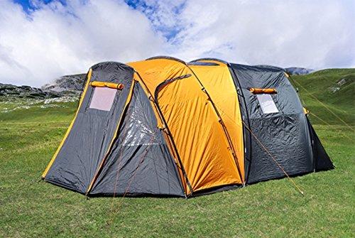 Trendkontor 4 Personen Marken Tunnelzelt Campingzelt Zelt teilbare Schlafkabine grau/orange