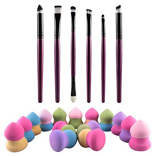 Gowind6 Eye Brush Set Make-up Eye Brush Set - Beste Keuze 6 Stuk Essentials met Draagbare Sponge Blender