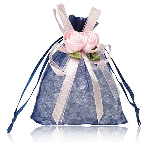YFZYT 20 Stück Drawstring Organzabeutel Geschenk Beutel, Schmuckbeutel Verpackung Lagerung Säcke mit Tulip Farbiges Band, Süßigkeit Schokolade Beutel für Hochzeit, DIY Craft - 13 * 18 cm, Navy Blau