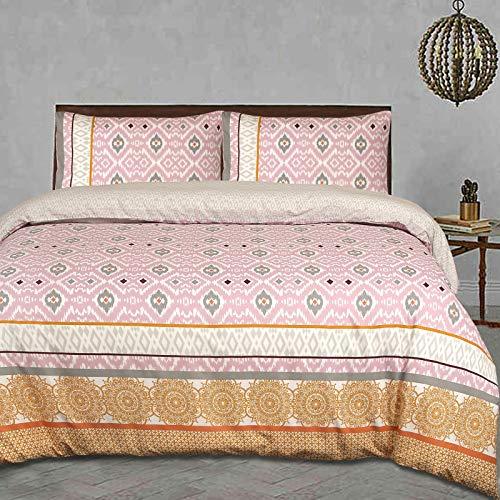 Nimsay Home Ikat - Juego de funda de edredón y funda de almohada (100% algodón), diseño étnico, algodón, Rosa, blanco y naranja., UK Duvet Set Super King