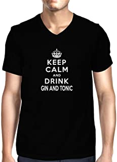 Idakoos Keep Calm and Drink Gin and Tonic V-Neck T-Shirt