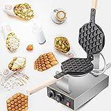 Vogvigo Waffle Maker, sartén antiadherente de acero inoxidable de 1400 W, máquina para hacer gofres de huevo, giratoria de 180 grados para hacer gofres de huevo para uso doméstico y comercial