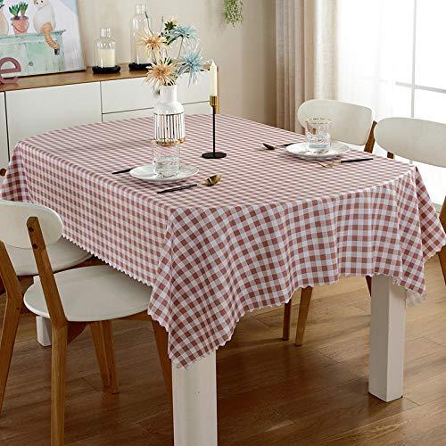 ZXCN Mantel para Mesa de Cocina o Salón Hojas Rectangular Suave y Transpirable Impermeable Lavable Diseño de Comedor Decoración del Hogar Cuadrícula Rosa 135×200cm