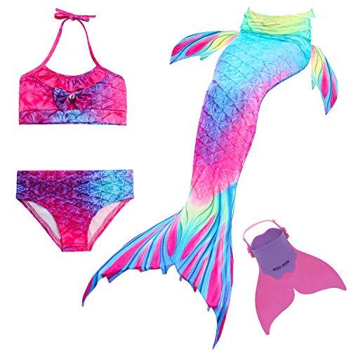 Cola de Sirena para Natación Traje de Baño 4pcs Mermaid Bikini con Monofín Establece para Niña Disfraz de Sirena Princesa Cosplay Conjuntos