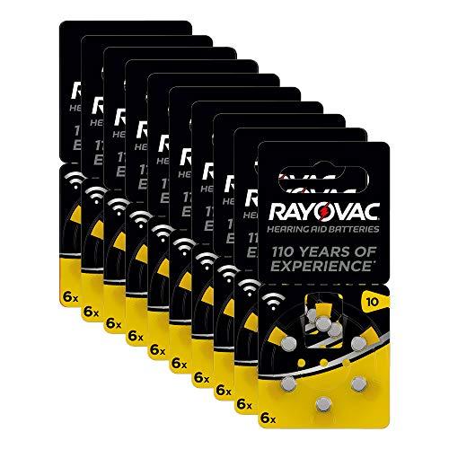 Rayovac 60 Batterie per Apparecchi Acustici Zinco Aria Modello 10, Giallo