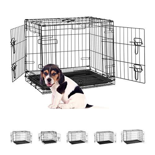 Relaxdays Hundekäfig für zuhause, Büro, Auto Hundebox, faltbar, Stahl Gitterbox mit Wanne, Kennel 50,5x60x44 cm, schwarz