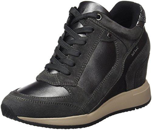 Geox Damen D NYDAME A Hohe Sneaker, Grau (Dk Grey/Anthracite), 40 EU