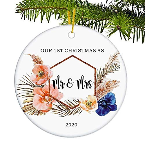 JUPPE Our First Christmas As Mr. & Mrs. 2020 Ornament Mr & Mrs Newlywed Xmax Ttee Decoration Romantic Couples Gift (Flower-2)