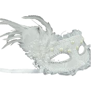 """Feather Black Flower Lace Mask: /""""Alessia/"""" Women/'s Deluxe Masquerade Glitter"""