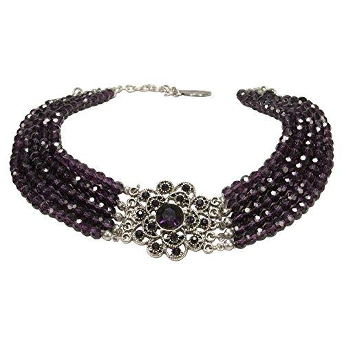 Alpenflüstern Perlen-Kropfkette Elvira - nostalgische Trachtenkette, eleganter Damen-Trachtenschmuck, Dirndlkette lila-violett DHK201