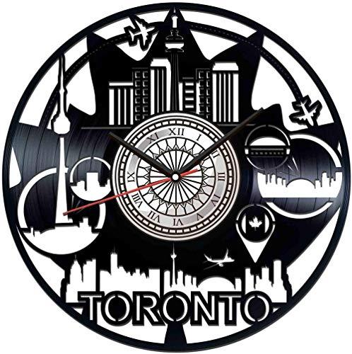 TJIAXU Reloj de Pared con Disco de Vinilo de Toronto, decoración única para el hogar, Regalo Hecho a Mano para Hombres, Mujeres, Amigos, niños