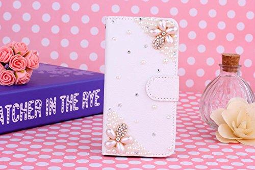 ZTE Nubia Z7 Mini Cover, iNenk® PU Borsa Custodia Cuoio w/Supporto ID 3D Fatto a Mano Bling Diamante Scintillio Perla Cristallo Sacchetto della Carta del Basamento-Due Perle