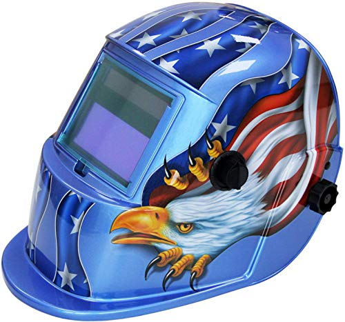 BOLTHO Welding Helmet Auto Darkening Mask Hood, Solar Powered Shield Equipment with Adjustable Shade Range 9-13 for Mig Tig Arc Welder Mask(Blue Eagle)