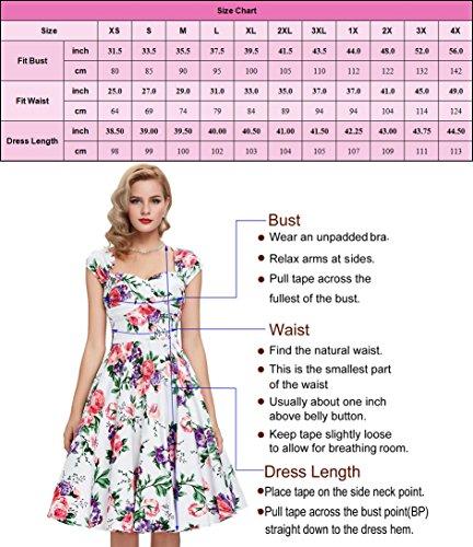 Damen rockabilly kleid 50er jahre kleid festliche kleider vintage knielang partykleider Größe M CL6086-4 - 3