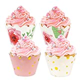 BAKHUK 48pcs Floral Rose Gold Cupcake Wrappers, Baby Shower Decorations for Girl, Pink and...