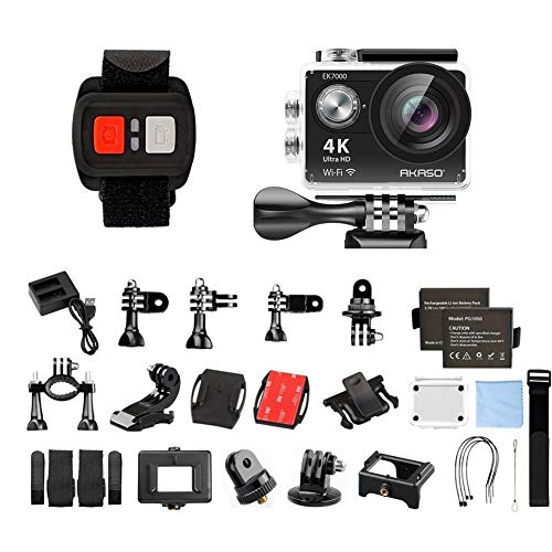 AKASO EK7000 4K Sport Action Camera Ultra HD Camcorder 12MP WiFi Waterproof Camera 170 Degree Wide View Angle 2 Inch LCD Screen W/2.4G Remote Control/2 Rechargeable Batteries/19 Accessories Kits (Black)