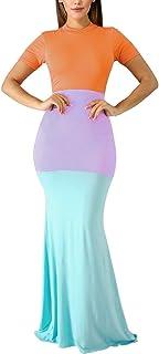 Aro Lora Women's Casual Short Sleeve Color Block Bodycon Long Maxi Mermaid Party Dress