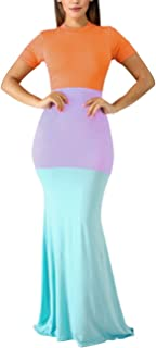 Women's Casual Short Sleeve Color Block Bodycon Long Maxi Mermaid Party Dress