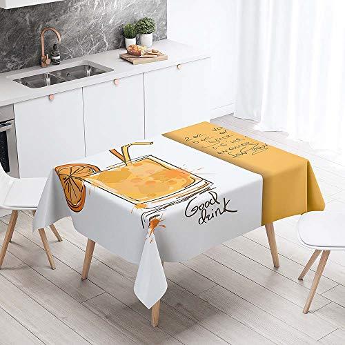 Enhome Mantel Mesa Rectangular Tela, Antimanchas Lavable Square Impresión 3D Girasol Poliéster Manteles para Cocina o Salón Comedor Decoración del Mesa (100x140cm,Naranja Zumo)