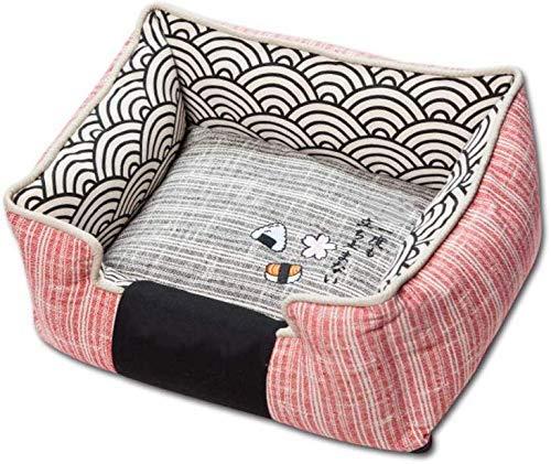 XUSHEN-HU Cama duradera para perro, funda extraíble, alfombrillas antideslizantes suaves, de peluche, gato de bichón, cama pequeña y mediana para perros de color rosa M