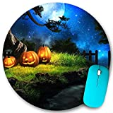 VAMIX Round Mouse Pad,Halloween Scary Grimace Pumpkin Moon Night Outdoor,Non-Slip Rubber Office Home Mouse Pads Small 7.9x7.9 in Gaming Mousemate