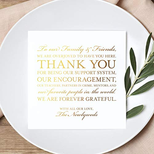 Bliss Collections Wedding Reception Thank You Cards, Pack of 50 REAL GOLD Foil Cards, Great Addition to Your Table Centerpiece, Place Setting, Wedding Decorations, Each Card is 5x5, Made in the USA