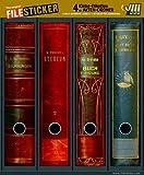 File Sticker - Design Etiketten - Motiv Books - für 4 breite Ordner