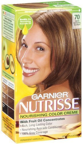 Garnier Nutrisse Haircolor, 70 Dark Natural Blonde Almond Creme (Pack of 3)
