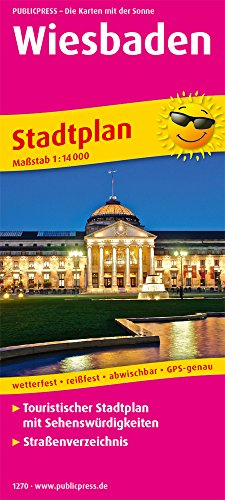 Wiesbaden: Touristischer Stadtplan mit Sehenswürdigkeiten und Straßenverzeichnis. 1:14000 (Stadtplan: SP)