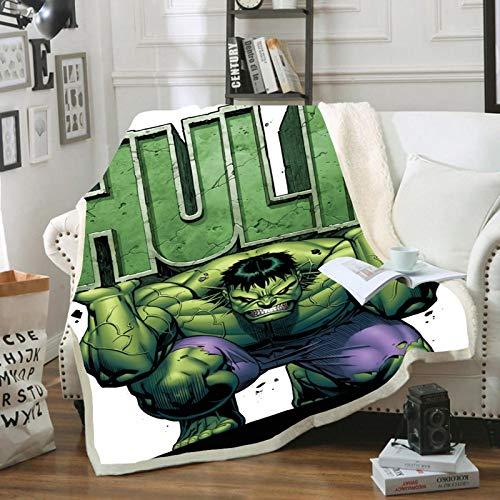POMJK Marvel Avengers Fleecedecke,Hulk Fleecedecke für Kinder,Mikrofaser,3D Drucken,Überwurf,Mehrfarbig,für Picknicks oder Camping (4,150×200cm)