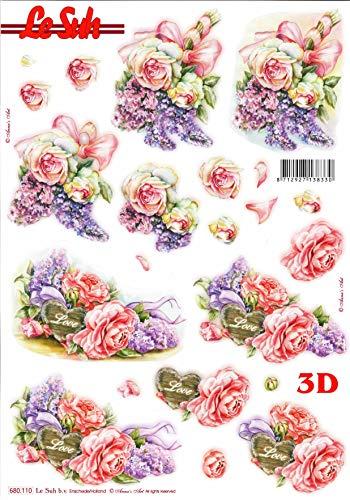 Roses & Lilac Bouquets 3d Die Cut Decoupage - NO CUTTING