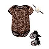 jsadfojas Neugeborenes Baby Floral oder Leopard Body + Schuhe + Stirnband 3Pcs Outfits Set 0-12 Monate (Leopard, 0-3m)