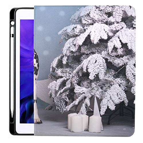 Ipad Pro 12.9 Case 2020 & 2018 with Pencil Holder Dog Breed Dalmatian Under Christmas Tree Smart Cover Ipad Case, Supports 2nd Gen Pencil Charging,case for 2020 Ipad Pro 12.9 Cover with Auto Sleep/wa