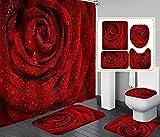 Dunkelroter Rosafarbener Duschvorhang Aus Stoff, Spritzwassergeschützter, Schimmelresistenter Polyester-Badvorhang 12 Haken, Badteppich, Toilettendeckelabdeckung, Teppich In U-Form