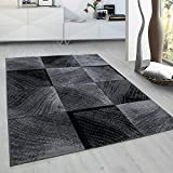 Modern Style Rug CHECK Design Black Grey Charcoal Rugs Living Room Extra Large Size Soft Touch Short Pile Carpet Area Rugs Non Shedding (80cm x 150cm (3ft x 5ft))