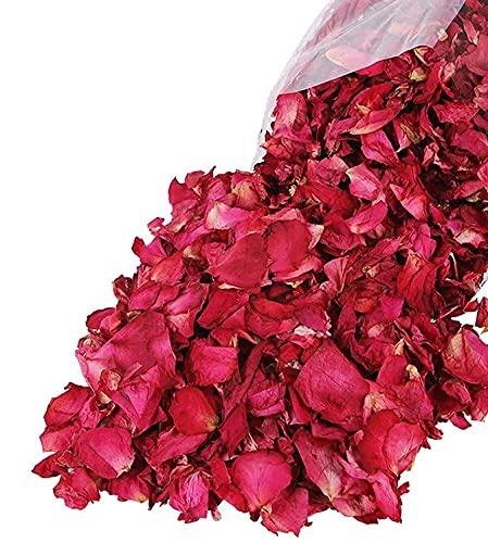 Reccisokz 100g Pétalos de rosa secos naturales de pétalos de rosa roja para pies, baño, spa, boda, confeti, casa, fragancia, manualidades, accesorios